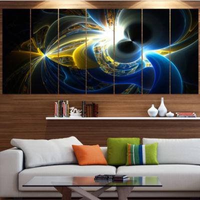 Design Art Glowing Blue Yellow Plasma Abstract Wall Art Canvas - 6 Panels