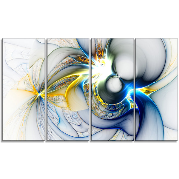 Designart Shining Multi Colored Plasma Abstract Wall Art Canvas - 4 Panels