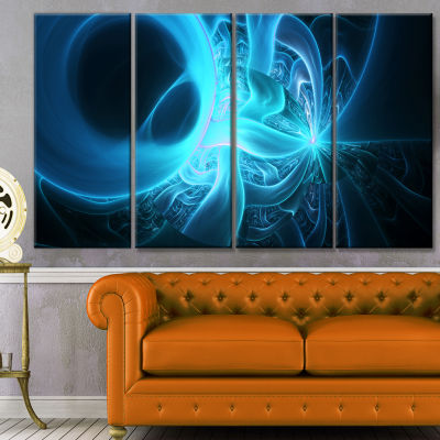 Shining Bright Blue On Black Abstract Wall Art Canvas - 4 Panels