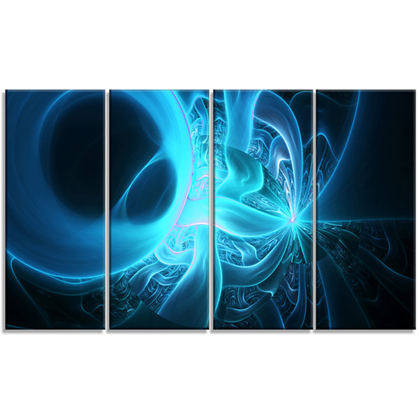 Designart Shining Bright Blue On Black Abstract Wall Art Canvas - 4 Panels
