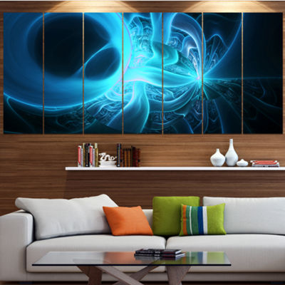 Designart Shining Bright Blue On Black Abstract Wall Art Canvas - 5 Panels