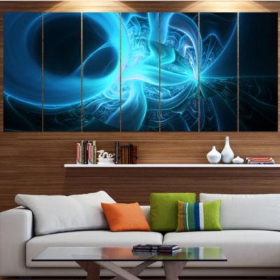 Designart Shining Bright Blue On Black Abstract Wall Art Canvas - 6 Panels