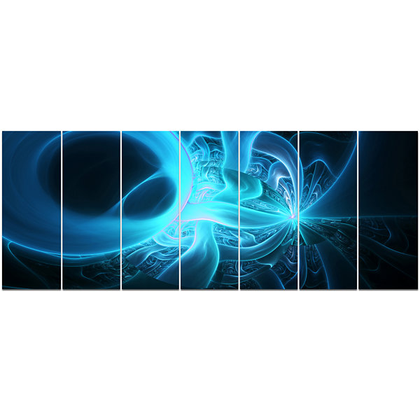 Designart Shining Bright Blue On Black Abstract Wall Art Canvas - 7 Panels