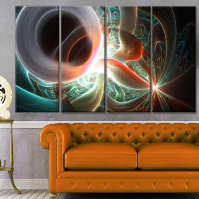 Designart Shining Brown Silver On Black AbstractWall Art Canvas - 4 Panels