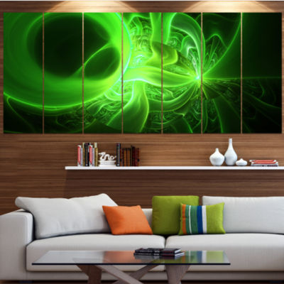 Design Art Bright Green Designs On Black AbstractWall Art Canvas - 4 Panels