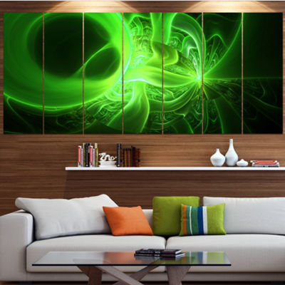 Designart Bright Green Designs On Black AbstractWall Art Canvas - 6 Panels