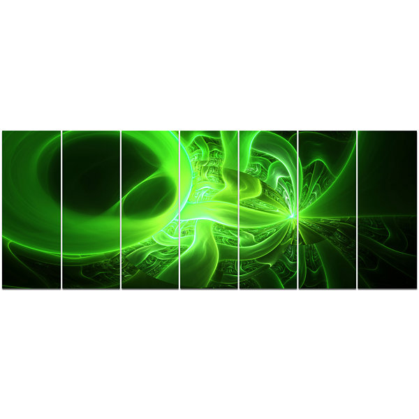 Design Art Bright Green Designs On Black AbstractWall Art Canvas - 7 Panels