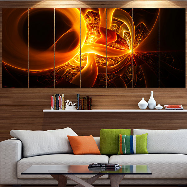 Designart Bright Yellow Designs On Black Contemporary Wall Art Canvas - 5 Panels