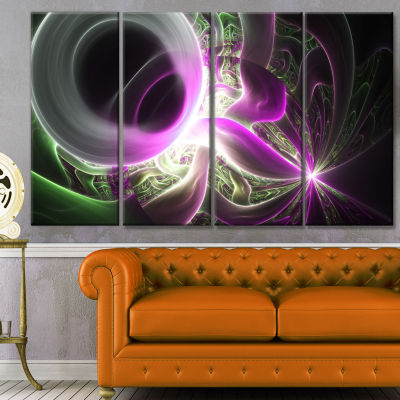 Light Purple Designs On Black Abstract Wall Art Canvas - 4 Panels