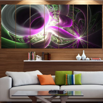 Light Purple Designs On Black Abstract Wall Art Canvas - 7 Panels