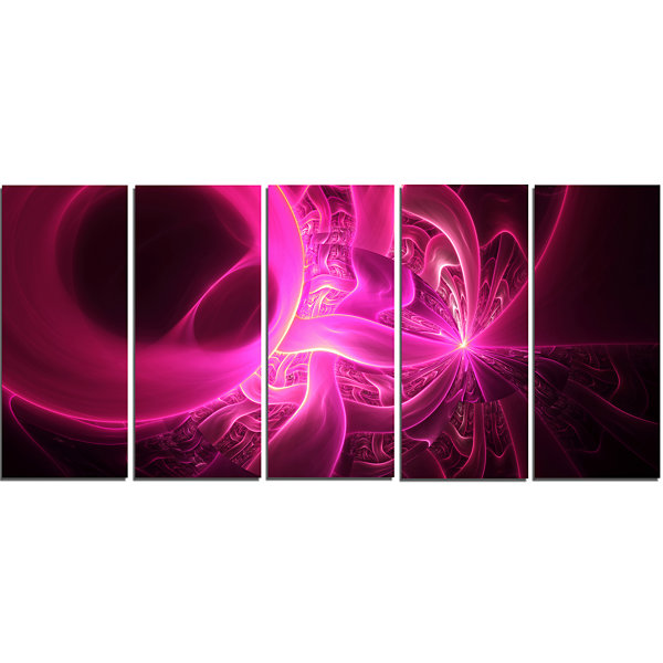 Design Art Bright Pink Designs On Black Abstract Wall Art Canvas - 5 Panels