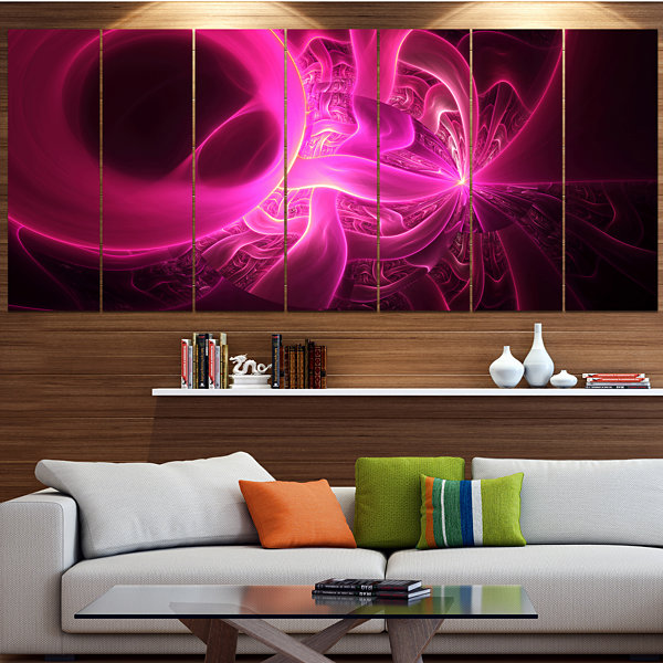 Designart Bright Pink Designs On Black Abstract Wall Art Canvas - 6 Panels