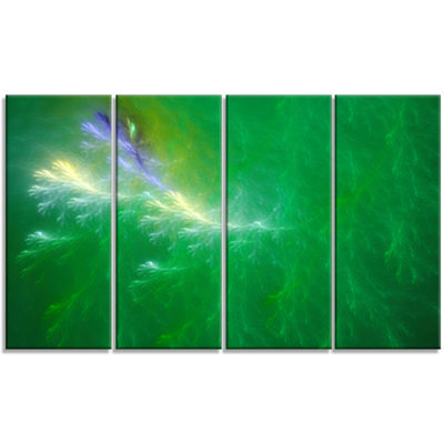 Designart Green Fractal Thunder Sky Abstract WallArt Canvas- 4 Panels
