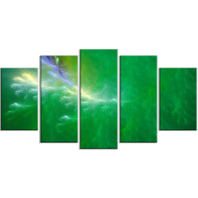 Designart Green Fractal Thunder Sky ContemporaryWall Art Canvas - 5 Panels