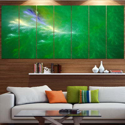 Designart Green Fractal Thunder Sky Abstract WallArt Canvas- 5 Panels