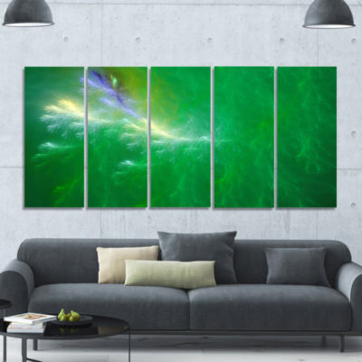 Green Fractal Thunder Sky Abstract Wall Art Canvas- 5 Panels