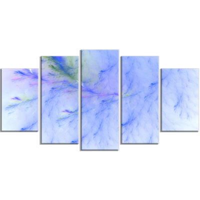 Designart Light Blue Veins Of Marble ContemporaryWall Art Canvas - 5 Panels