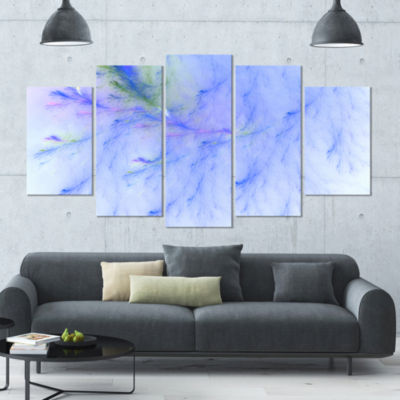 Light Blue Veins Of Marble Contemporary Wall Art Canvas - 5 Panels