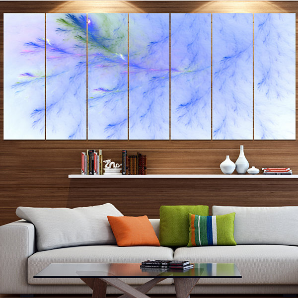 Design Art Light Blue Veins Of Marble Abstract Wall Art Canvas - 6 Panels