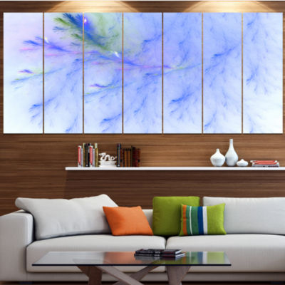 Light Blue Veins Of Marble Abstract Wall Art Canvas - 7 Panels