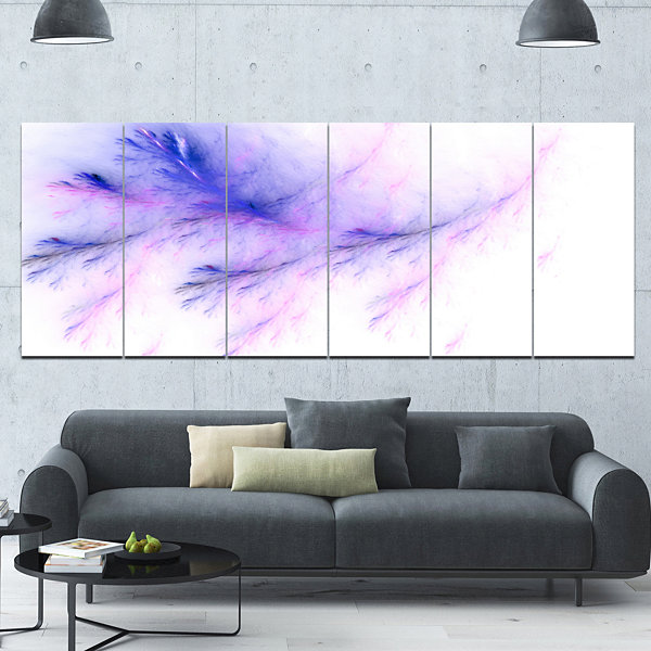 Designart Bright Blue Veins Of Marble Abstract Wall Art Canvas - 6 Panels