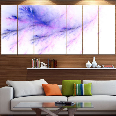 Designart Bright Blue Veins Of Marble Abstract Wall Art Canvas - 7 Panels