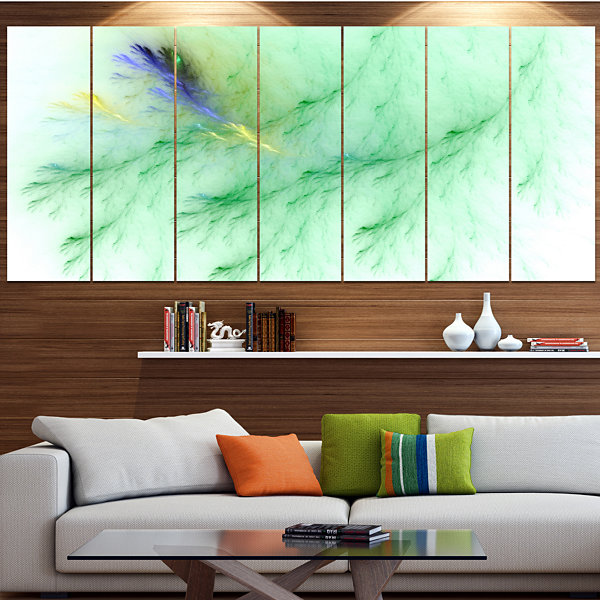 Design Art Light Green Veins Of Marble Abstract Wall Art Canvas - 5 Panels