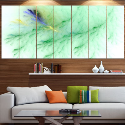 Designart Light Green Veins Of Marble Abstract Wall Art Canvas - 7 Panels
