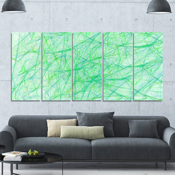Design Art Clear Green Veins Of Marble Abstract Canvas Art Print - 5 Panels