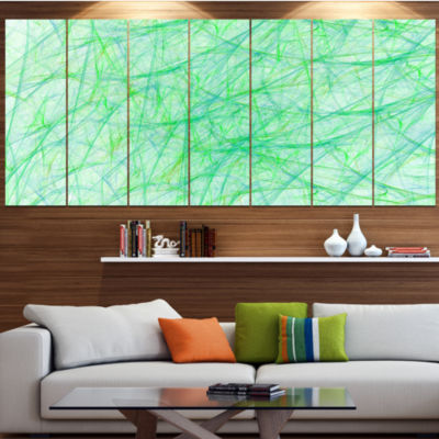 Designart Clear Green Veins Of Marble Abstract Canvas Art Print - 6 Panels