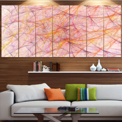 Design Art Mystic Pink Fractal Veins Abstract Canvas Art Print - 6 Panels