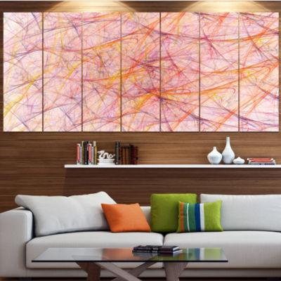 Design Art Mystic Pink Fractal Veins Abstract Canvas Art Print - 7 Panels