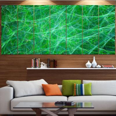 Design Art Mystic Green Fractal Veins Abstract Canvas Art Print - 5 Panels