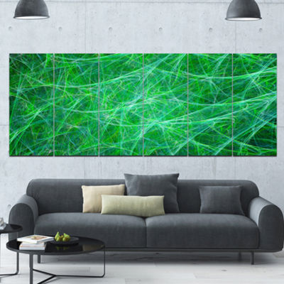 Designart Mystic Green Fractal Veins Abstract Canvas Art Print - 6 Panels