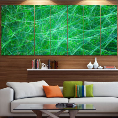 Designart Mystic Green Fractal Veins Abstract Canvas Art Print - 7 Panels