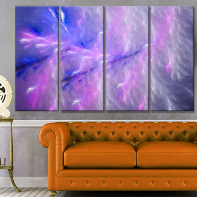 Designart Mystic Blue Thunder Sky Abstract CanvasArt Print- 4 Panels