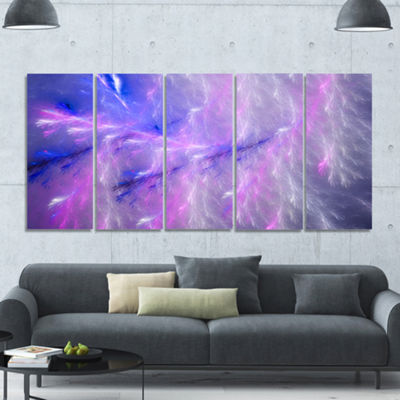 Designart Mystic Blue Thunder Sky Abstract CanvasArt Print- 5 Panels