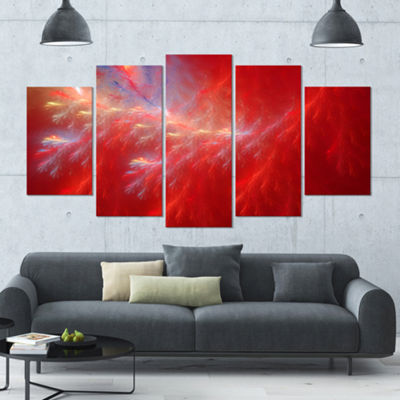 Designart Mystic Red Thunder Sky Contemporary Canvas Art Print - 5 Panels