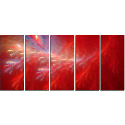 Designart Mystic Red Thunder Sky Abstract CanvasArt Print -5 Panels