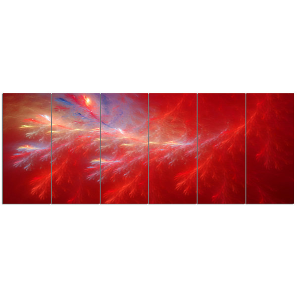 Designart Mystic Red Thunder Sky Abstract CanvasArt Print -6 Panels