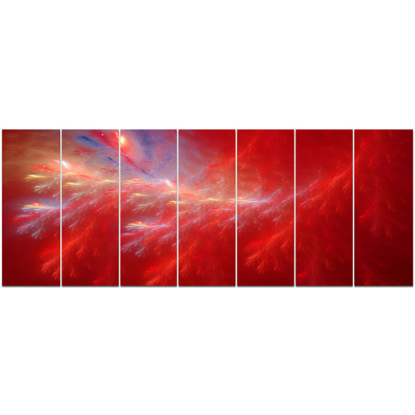 Design Art Mystic Red Thunder Sky Abstract CanvasArt Print -7 Panels