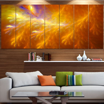 Designart Mystic Yellow Thunder Sky Abstract Canvas Art Print - 6 Panels