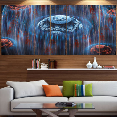 Designart Blue World Of Infinite Universe Contemporary Canvas Art Print - 5 Panels