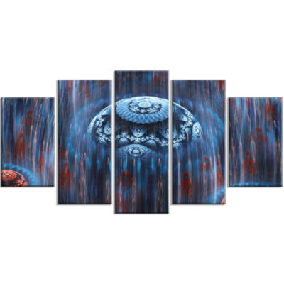 Blue World Of Infinite Universe Contemporary Canvas Art Print - 5 Panels