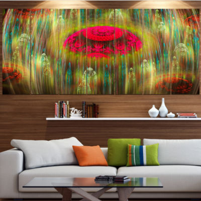 Designart Yellow World Of Infinite Universe Abstract Canvas Art Print - 4 Panels