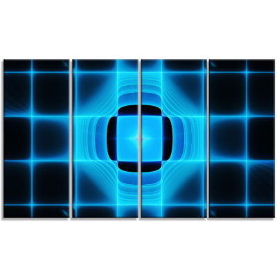 Blue On Black Thermal Infrared Visor Abstract Canvas Art Print - 4 Panels
