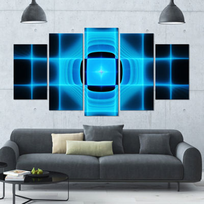 Designart Blue On Black Thermal Infrared Visor ContemporaryCanvas Art Print - 5 Panels