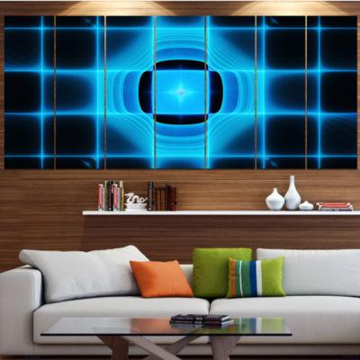 Designart Blue On Black Thermal Infrared Visor Abstract Canvas Art Print - 5 Panels