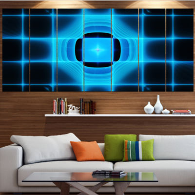 Designart Blue On Black Thermal Infrared Visor Abstract Canvas Art Print - 6 Panels
