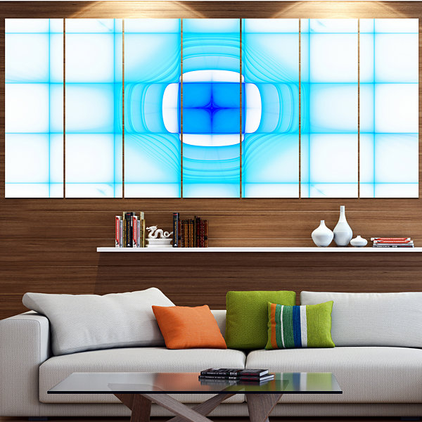 Designart Blue Thermal Infrared Visor Abstract Canvas Art Print - 5 Panels
